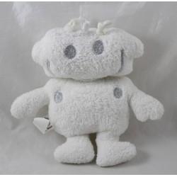 Soft flat robot BABY BOUM white silvery grey 20 cm