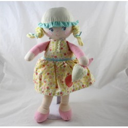 Doll rag COROLLE blonde girl dress yellow fruit shiver 37 cm