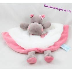 Doudou flat hippopotamus BABY NAT Zoe the brown and pink hippo BN082 26 cm