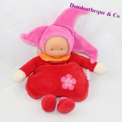 Doudou elf COROLLE Miss Grenadine red pink doll 24 cm