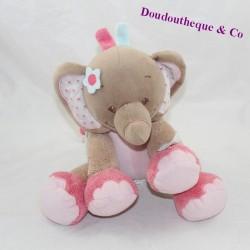 Toalla musical elefante NATTOU Charlotte - Rosa azul rosa flores 19 cm