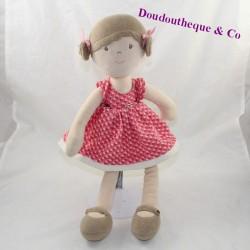 Natur UND DECOUVERTES beige rosa Kleid 40 cm Puppe