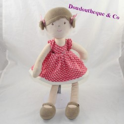 Nature AND DECOUVERTES beige pink dress 40 cm doll