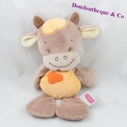 Doudou vaca semi plana NATTOU Little Garden marrón naranja 26 cm