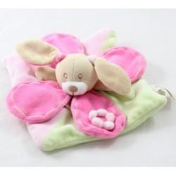 Doudou plat Mila lapin BABY NAT' Milo & Mila rose vert pistache fleur pétales