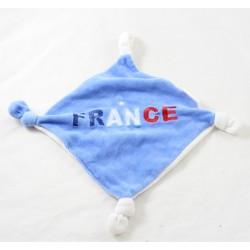 Doudou plat France LE BELLODOUX bleu clair blanc et rouge