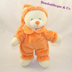 Peluche ours GIPSY Baby bear orange lune bonnet 30 cm