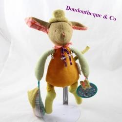 Doudou d'activité lapin MOULIN ROTY Les tartempois orange vert 30 cm