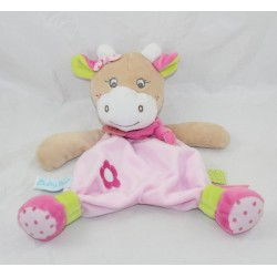 Baby NAT cow dish doudou' Coquillette - Super crisp pink picotin