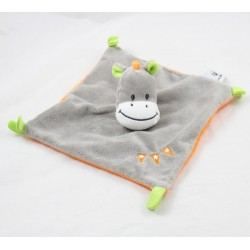 Doudou flat donkey U ALL PETITS orange grey embroidered pennants 19 cm