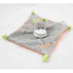 Doudou plat âne U TOUT PETITS gris orange brodé fanions 19 cm