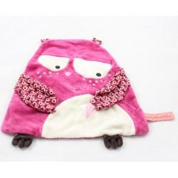 Doudou flat owl DPAM Baby doudouchou pink beige 24 cm