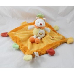 Doudou flat cat BABY NAT' orange yellow bell 24 cm