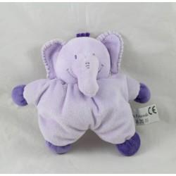 Doudou semi flat elephant SOFT FRIENDS purple bell rattle 15 cm