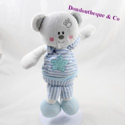Doudou bear MAXITA blue striped white star 25 cm