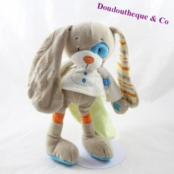 Doudou rabbit TEX BABY dog blue cockroach leaf in the back 28 cm