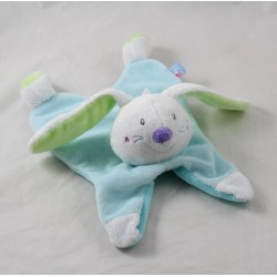 Doudou flat rabbit SUCRE D'ORGE luminescent blue white star green 26 cm
