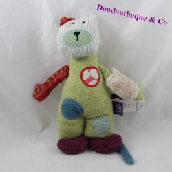 Doudou cat MOULIN ROTY Pretty not beautiful purple green 26 cm