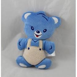 Doudou blue overalls Nestlé bear beige semi flat Bell 16 cm