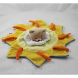 Doudou plat Ours TRUDI soleil jaune bleu blanc 30 cm