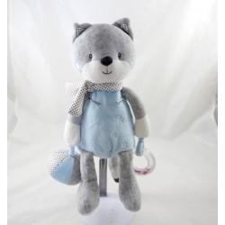 Activity towel fox TEX BABY blue grey scarf polka dots leg 30 cm