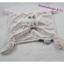 Doudou flat rabbit DOMIVA pink hairs long flowers 26 cm