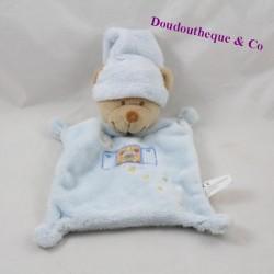 Doudou flat bear NICOTOY blue beanie moon stars 24 cm