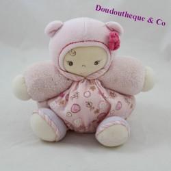 Doudou ball baby KALOO Lilirose flowers pink 18 cm