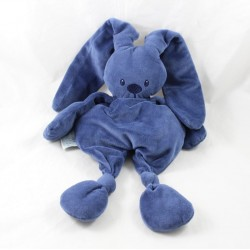 Doudou semi flat rabbit NATTOU navy blue lapidou knots 35 cm