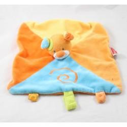 Doudou flat dog NATTOU Funny Farmers orange spiral blue 25 cm