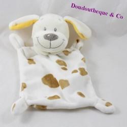 Doudou flat dog NICOTOY white brown stains 22 cm