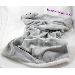 Doudou couverture mouton plaid blanc gris 65 cm