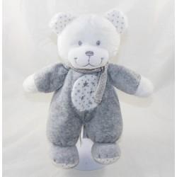 Doudou bear TEX BABY white grey scarf stars 26 cm