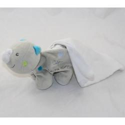 Doudou handkerchief rhinosucre D'ORGE White grey cashew 16 cm