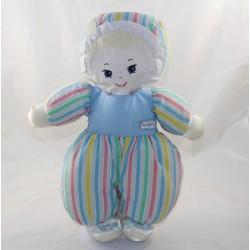 BLUE BOULGOM blue striped yellow striped doll pink green vintage blue 32 cm