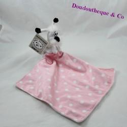 Doudou handkerchief Idefix dog PARC ASTERIX pink white peas 40 cm