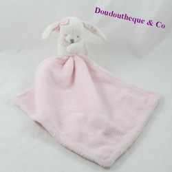 Doudou handkerchief rabbit beige pink knot on head 10 cm