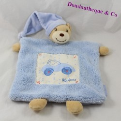 Doudou flat bear KALOO Blue blue car 27 cm