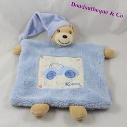 Doudou plat ours KALOO Blue voiture bleue 27 cm