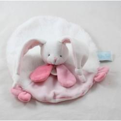 Doudou plat lapin BABY NAT' Les tendres rose blanc rond 24 cm