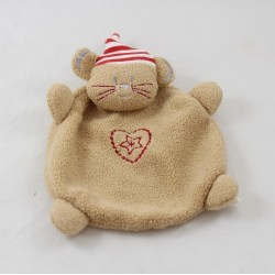 Doudou mouse flat Brown ABSORBED heart embroidered with a 20cm Red Star