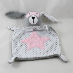 Doudou flat rabbit IKKS stars mask pink gray white 21 cm