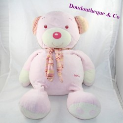 Large teddy bear BABYSUN pink striped scarf 55 cm