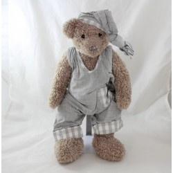Teddy bear J-LINE taupe overalls grey fabric 40 cm