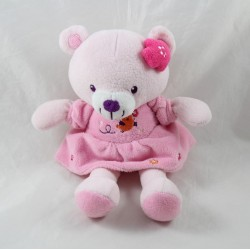 Doudou bear POMMETTE bird orange dress pink flower 23 cm