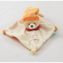 Bear flat Doudou DOUDOU and company pink bonnet collar orange 16 cm