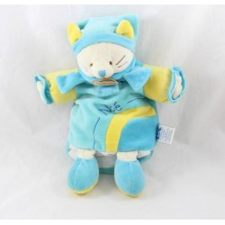 Doudou puppet Noah cat DOUDOU AND COMPAGNIE blue yellow 25 cm