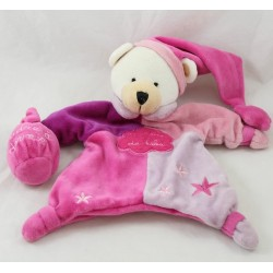 Doudou puppet bear BABY NAT' purple pink a baby dream sleeping powder