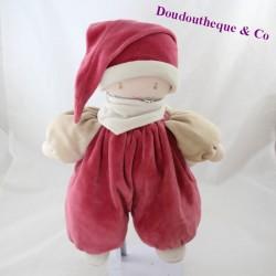 Doudou baby COROLLE burgundy elf raspberry 30 cm