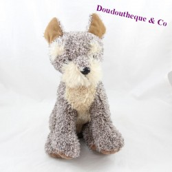 Dog peluche PETITES MARIE beige grey seated 25 cm